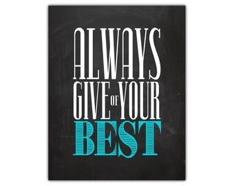 Be your best - home office wall decor - inspirational office art - chalkboard wall art - college dorm room decor - inspirational home quote