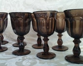 Set Of 8 Vintage Old Williamsburg Imperial Glass Brown Water Goblets by Lenox
