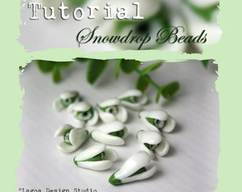 TUTORIAL Polymer Clay Snowdrop Beads Hand Sculpted  Spring Flowers PDF eBook