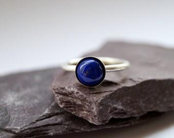 Lapis Lazuli Sterling Silver Ring ~ statement ring, stacking ring, gemstone ring, solitaire ring