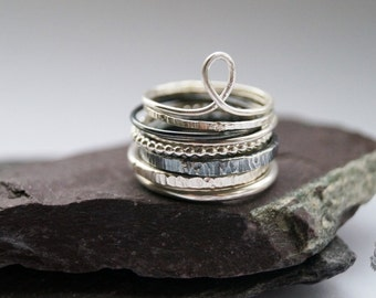 Tower Of Sterling Silver Stacking Rings - stacking rings, hammered, silver bands, oxidised, stackable, textured rings, layer, beaded
