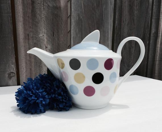 Retro Polka Dot Teapot | Etsy