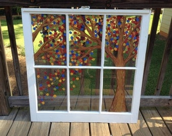 Hand Painted Vintage Window Rainbow Tree