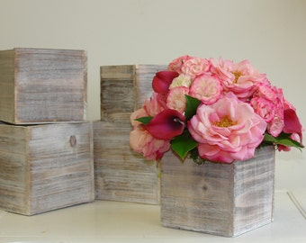 wood vases wood boxes, square wedding flower pot centerpieces planter rustic chic wedding birch bark  wood boxes