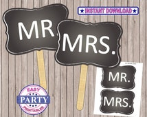 Mr. and Mrs. Printable Photo booth props, chalkboard Art, Instant Download, Photo Booth sign, sale, printable art, 8x10, printable file,