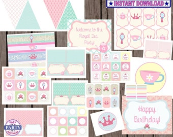 Instant Download shabby chic Princess Tea Party Package collection, candy wrappers, Water bottle wrappers, banner, pink and teal