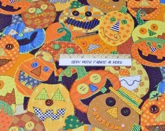Alexander Henry's Pumpkin Patched Fabric~whimisical pumpkins~fall~by the 1/2 yard~halloween