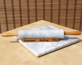 Vintage Grey White Marble Wood Rolling Pin, Kitchen Rolling Pin, Baking Dough Roll and Marble Board.