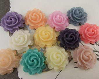 12pcs   Mixed in 12 colors Resin Flower Cameo Cabochon.