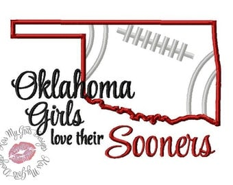 Oklahoma Girls Love Their Sooners Machine Embroidery Applique Design