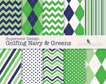 "FREE COMMERICAL use Argyle Digital Paper Pack. ""Golfing Navy & Green"" Scrapbooking Papers. Golf, Chevron, Stripe, Polka Dots."