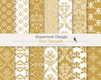 FREE COMMERICAL use 40% Off Gold Damask Digital Paper Pack. Christenings, Invitations, Wedding.