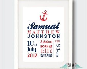 Anchor Nautical Nursery Birth Stat Print