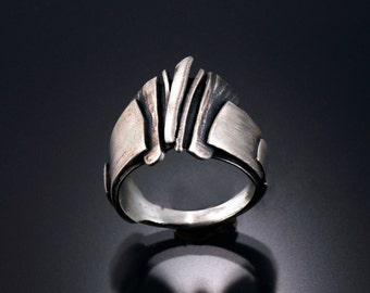 "Mens rings | Mens silver ring | Mens sterling band | Mens band sterling silver ring | Fashion jewelry bands | ""Eruption"" Ring"