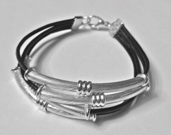 Black Eco Leather Bracelet Silver tubes Silver Lobster Claw Clasp Four Strands