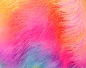 rainbow tide dye faux fur fabric by the  yard
