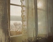 Nostalgic dreamy photograph. Light through vintage curtain and lace. Champagne color print. Cottage home decor art. Filtered Light