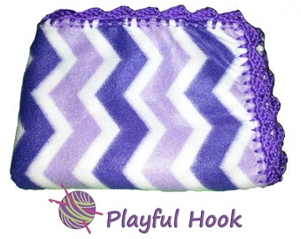 Handmade Purple Baby Fleece Blanket with Purple Wave Crochet Trim