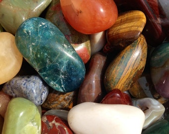 """1/4 lb Mixed TUMBLED STONES Polished Crystal Healing Minerals 1""""+ ~ For Jewelry & Crafts"""