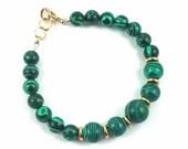 Womens Handmade Green Malachite and Gold Bracelet