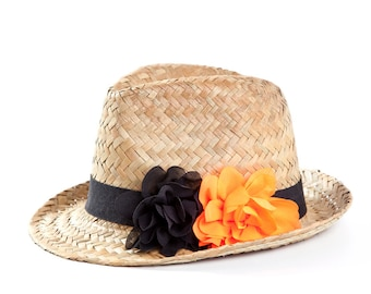 Straw hat for Halloween , Fedora hat with black & neon orange fabric flowers.