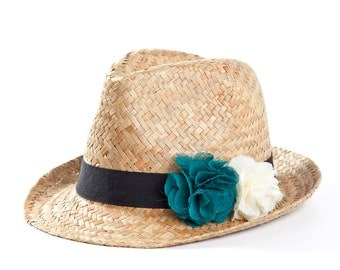 Fedora hat , Straw hat , Hats for women , with twin flowers decoration in turquoise & off white.