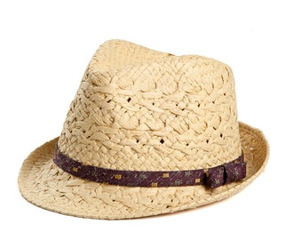 Natural fedora hat , Custom hats , Sun hat  for women , decorated with a satin ribbon & a bow.