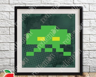 Retro Video Game Atari 8-bit Space Invaders Alien 3 Print