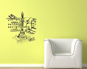 Sculpture and Buildings Skyline Vinyl Wall Decal  Wall Art Sticker Room Decor