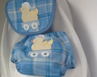 Boy blue and white plaid diaper cover and matching bib
