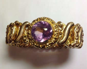 Vintage Purple Stone Expansion Bracelet Mid Century, 1940's