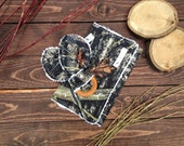 Real Tree Camo ORGANIC Maple Hardwood Teething Ring and Chenille Burp Cloth Gift Set  - Camoflauge - Hunting teether