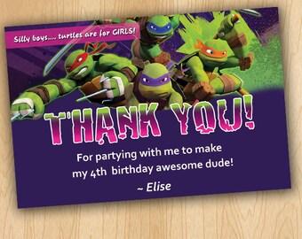 Girl Ninja Turtle Thank You Card