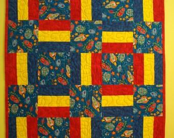 """Little Boys Flannel Space Rocket Quilt 30"""" x 42"""""""