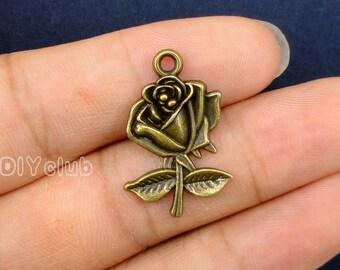 20pcs of Antique Bronze Rose Charms pendants 26x17mm