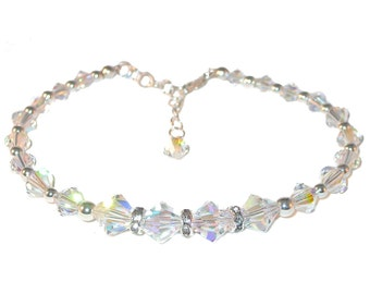 Iridescent CLEAR AB Beaded Bracelet Swarovski Crystal Elements Sterling Silver