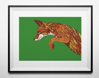 Pouncing Fox digital print from an original hand drawn illustration