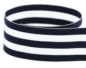 """5 yards 1.5"""" Navy White Stripe Taffy Woven Grosgrain Ribbon"""