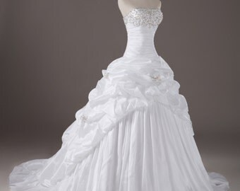 Ball Gown Off Shouler Taffeta wedding dress, Court train bridal gown white color crystal beaded