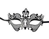 Mesh Black Metal Mask,Fancy Masquerade Mask,Venetian Half Face Mask with Rhinestones,Heart Floral Crystal Mask