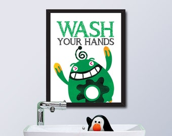 PRINTABLE Monster House Rule / Wash Your Hands / Instant Download / 8 x 10 Digital Download