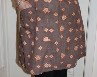 KLV Apron Sale! Classic 1970s Orange and Brown Geometric Floral Apron