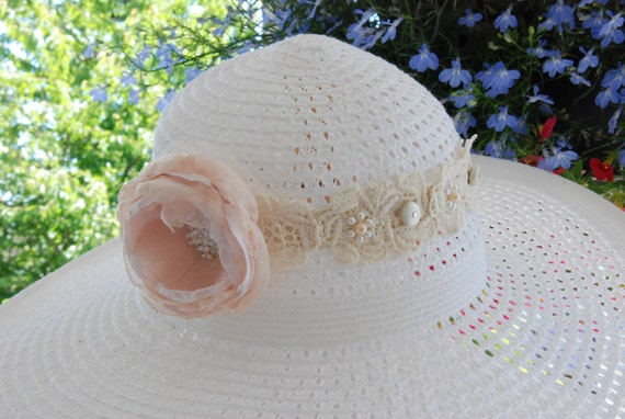 Blush fabric flower hand-beaded vintage lace headband