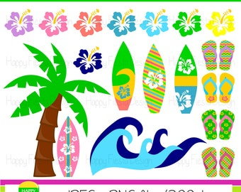Instant Download – Hawaiian Surfing Clipart – Personal and Commercial Use – Digital Graphics – Summer Clipart – Surfing Illustrations