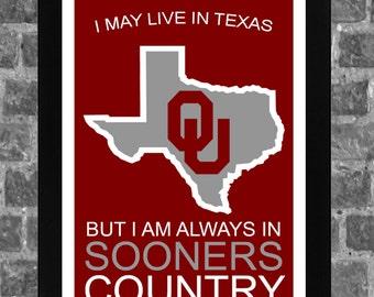 Oklahoma Sooners Texas State Sports Print Art 11x17