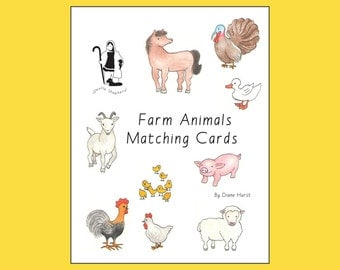Farm Animals Matching Cards PDF ebook -- matching games -- printable farm animal artwork