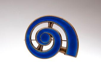 J. Tostrup Signed Cobalt Blue Enamel on Sterling Brooch