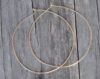 Extra Large Thin Gold Hoop Earrings - 2.5 inch Thin Gold Hoops - 14k Gold Filled Hammered Earring