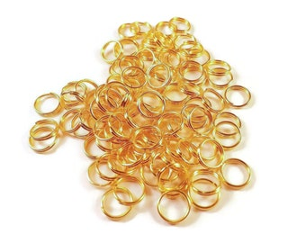 8mm Split Rings, Quantity of 1 gross, 144 Gold Tone Split Rings,  Craft Supplies,  Jewelry Supplies,  US Supplier, Fast Shipping