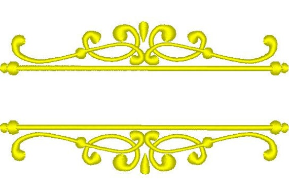 Calligraphy border curls font frame embroidery designs